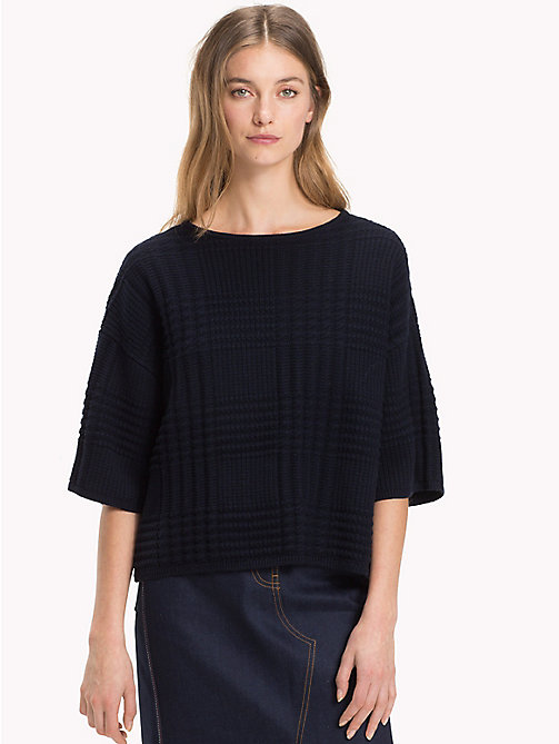 TOMMY HILFIGER Check Texture Boat Neck Jumper - MIDNIGHT - TOMMY HILFIGER Jumpers - main image