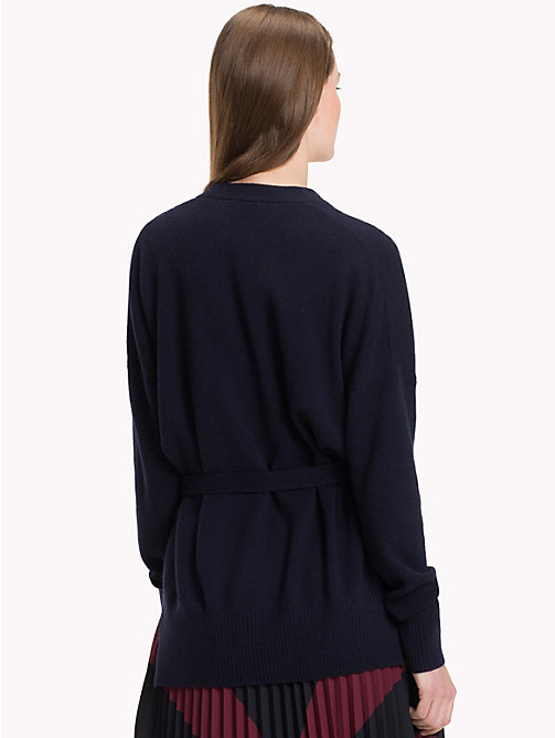 TOMMY HILFIGER Wool Cashmere Wrap Cardigan - MIDNIGHT - TOMMY HILFIGER Clothing - detail image 1