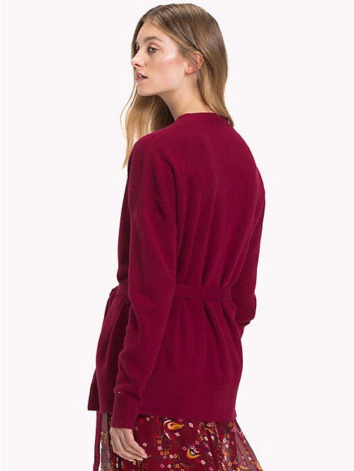TOMMY HILFIGER Wickel-Cardigan aus Kaschmir-Wollmix - CABERNET - TOMMY HILFIGER NEW IN - main image 1