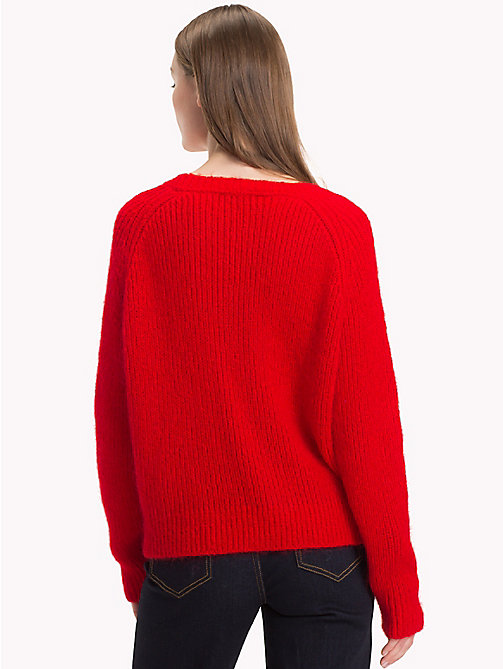 TOMMY HILFIGER Cable Knit Jumper - FLAME SCARLET - TOMMY HILFIGER What to wear - detail image 1