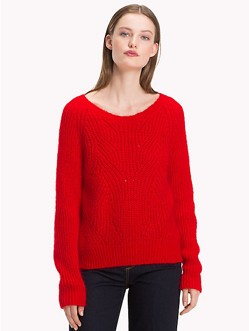 TOMMY HILFIGER Cable Knit Jumper - FLAME SCARLET - TOMMY HILFIGER What to wear - main image