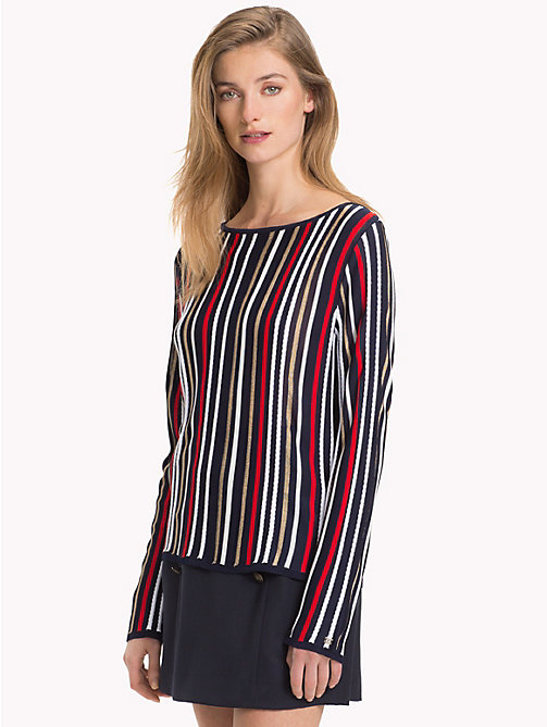 TOMMY HILFIGER Metallic Boat Neck Jumper - SKY CAPTAIN/MULTI - TOMMY HILFIGER Jumpers - main image