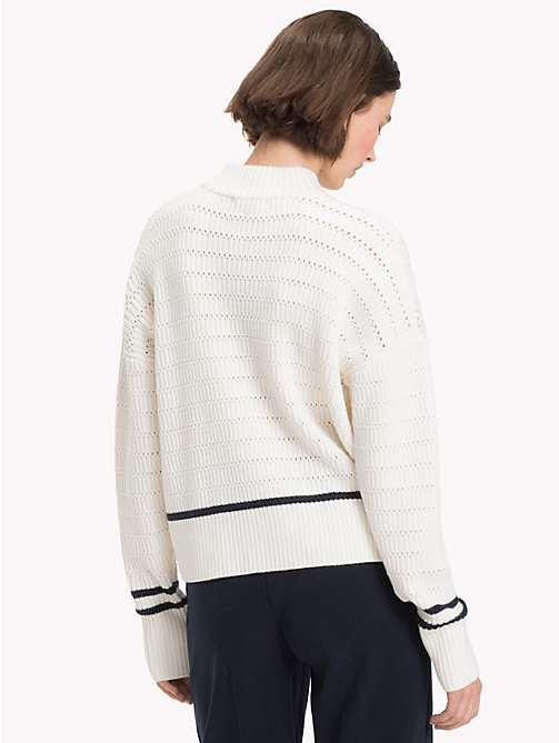 TOMMY HILFIGER Stripe Knit Mock Neck Jumper - SNOW WHITE - TOMMY HILFIGER Sweatshirts & Knitwear - detail image 1
