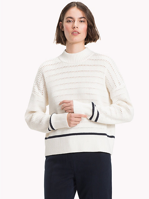 TOMMY HILFIGER Stripe Knit Mock Neck Jumper - SNOW WHITE - TOMMY HILFIGER Winter Warmers - main image