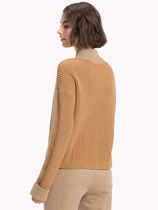 TOMMY HILFIGER Colour-Blocked Mock Neck Jumper - CLASSIC CAMEL - TOMMY HILFIGER Sweatshirts & Knitwear - detail image 1