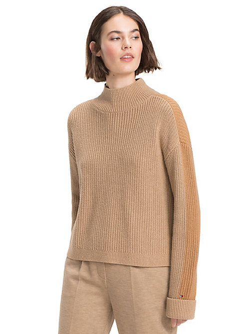 TOMMY HILFIGER Colour-Blocked Mock Neck Jumper - CLASSIC CAMEL - TOMMY HILFIGER Winter Warmers - main image