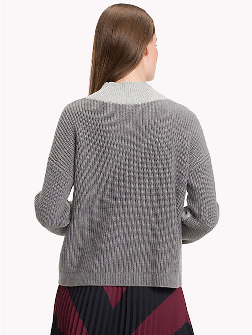 TOMMY HILFIGER Colour-Blocked Mock Neck Jumper - MEDIUM GREY HTR - TOMMY HILFIGER Winter Warmers - detail image 1