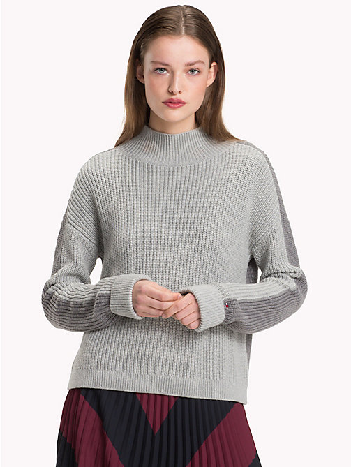 TOMMY HILFIGER Colour-Blocked Mock Neck Jumper - MEDIUM GREY HTR - TOMMY HILFIGER Clothing - main image