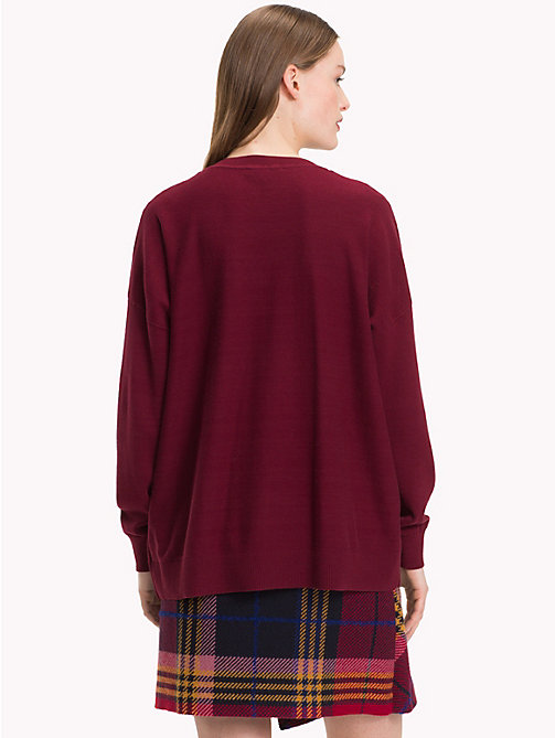 TOMMY HILFIGER Organic Cotton Abstract Logo Jumper - CABERNET / CHATEAU ROSE - TOMMY HILFIGER Sweatshirts & Knitwear - detail image 1