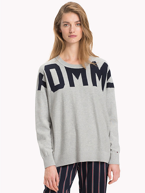 TOMMY HILFIGER Organic Cotton Abstract Logo Jumper - LIGHT GREY HEATHER / SKY CAPTAIN - TOMMY HILFIGER Sweatshirts & Knitwear - main image