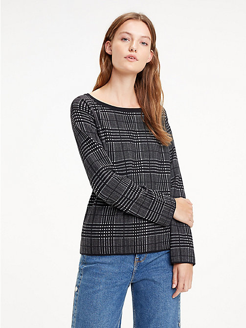 TOMMY HILFIGER Reversible Boat Neck Jumper - BLACK BEAUTY / LIGHT GREY HTR - TOMMY HILFIGER Trending - main image