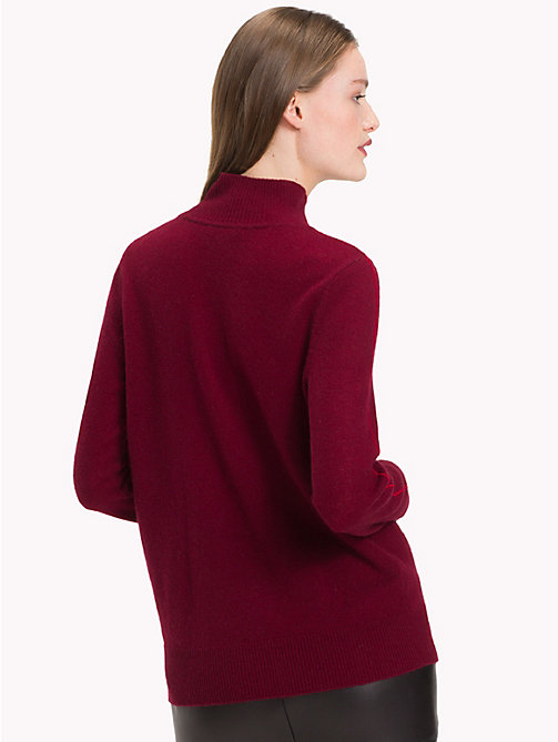 TOMMY HILFIGER Stripe Sleeve Cashmere Jumper - CABERNET - TOMMY HILFIGER NEW IN - detail image 1