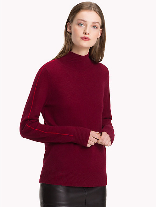 TOMMY HILFIGER Stripe Sleeve Cashmere Jumper - CABERNET - TOMMY HILFIGER Something Special - main image