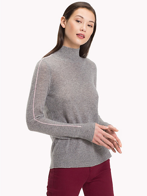 TOMMY HILFIGER Stripe Sleeve Cashmere Jumper - MEDIUM GREY HTR - TOMMY HILFIGER Sweatshirts & Knitwear - main image