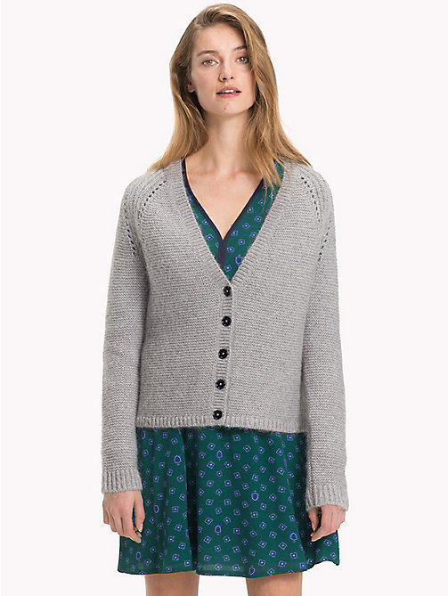 TOMMY HILFIGER Vivica V-Neck Cardigan - LIGHT GREY HTR - TOMMY HILFIGER Sweatshirts & Knitwear - main image