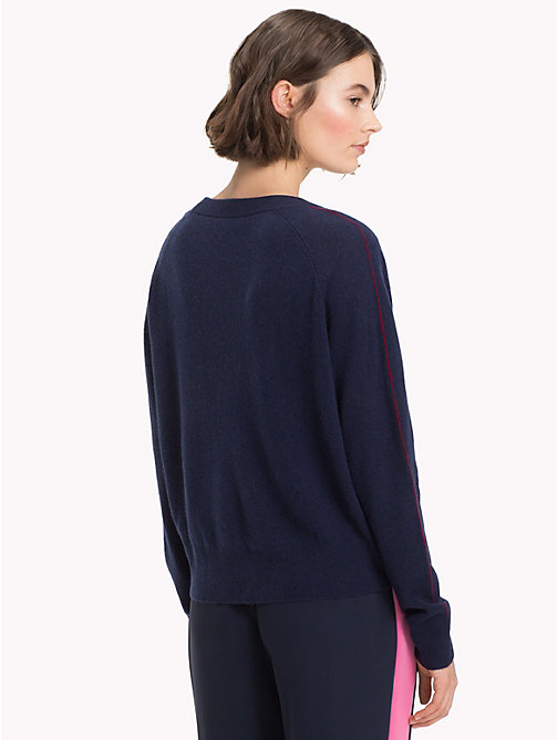 TOMMY HILFIGER Cashmere Stripe Sleeve Jumper - MIDNIGHT - TOMMY HILFIGER Clothing - detail image 1