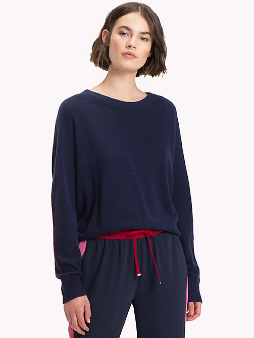 TOMMY HILFIGER Cashmere Stripe Sleeve Jumper - MIDNIGHT - TOMMY HILFIGER Clothing - main image