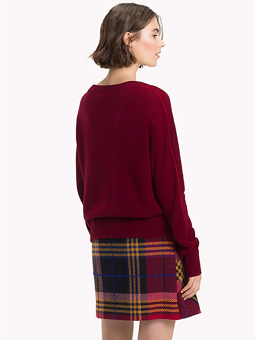 TOMMY HILFIGER Cashmere Stripe Sleeve Jumper - CABERNET - TOMMY HILFIGER NEW IN - detail image 1