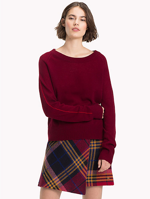TOMMY HILFIGER Cashmere Stripe Sleeve Jumper - CABERNET - TOMMY HILFIGER NEW IN - main image