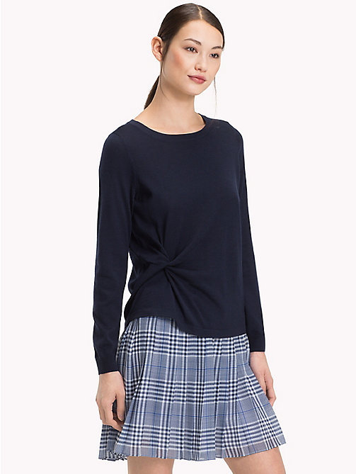 TOMMY HILFIGER Twist Front Round Neck Jumper - MIDNIGHT - TOMMY HILFIGER Trending - main image