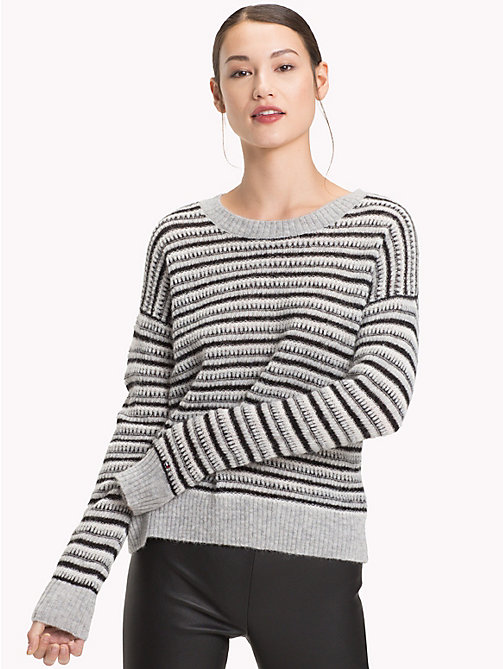 TOMMY HILFIGER Vachel Round Neck Jumper - LIGHT GREY HTR/MULTI - TOMMY HILFIGER Jumpers - main image