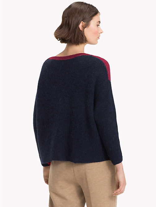 TOMMY HILFIGER Colour-Blocked Alpaca Blend Jumper - CABERNET / MULTI - TOMMY HILFIGER Sweatshirts & Knitwear - detail image 1