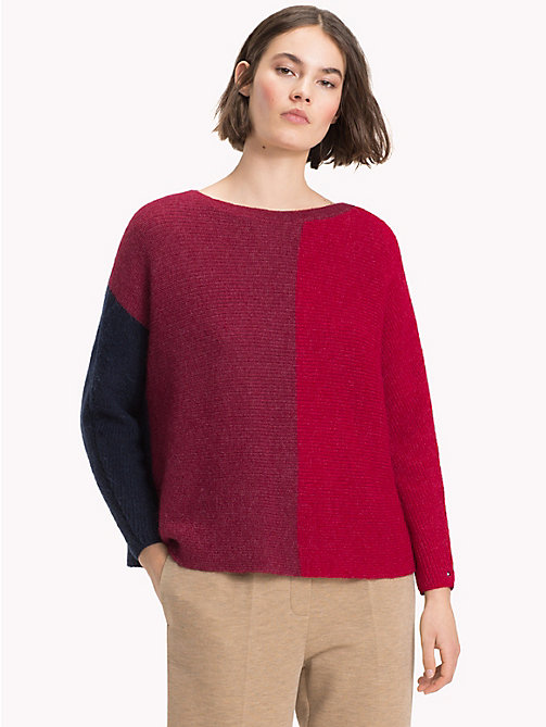 TOMMY HILFIGER Colour-Blocked Alpaca Blend Jumper - CABERNET / MULTI - TOMMY HILFIGER Winter Warmers - main image