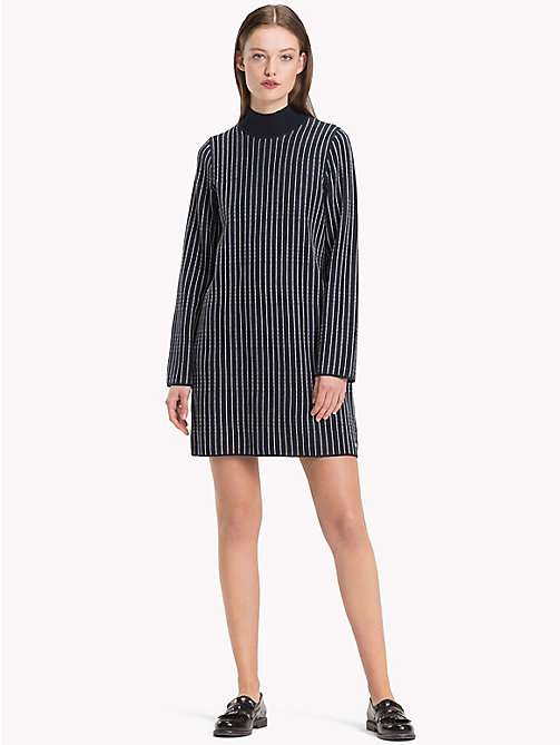 TOMMY HILFIGER Reversible Mock Neck Dress - SKY CAPTAIN/SNOW WHITE - TOMMY HILFIGER Mini - main image