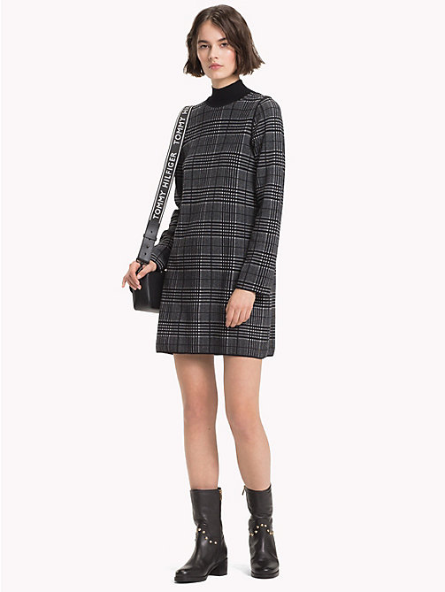 TOMMY HILFIGER Robe col cheminée réversible - BLACK BEAUTY / LIGHT GREY HTR - TOMMY HILFIGER Tendance carreaux - image principale