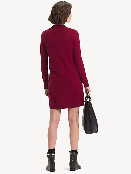 TOMMY HILFIGER Belted Wool And Cashmere Dress - CABERNET - TOMMY HILFIGER NEW IN - detail image 1
