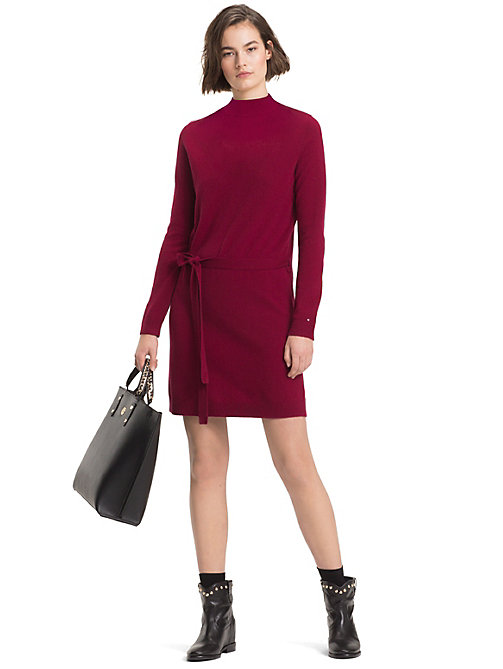TOMMY HILFIGER Belted Wool And Cashmere Dress - CABERNET - TOMMY HILFIGER NEW IN - main image