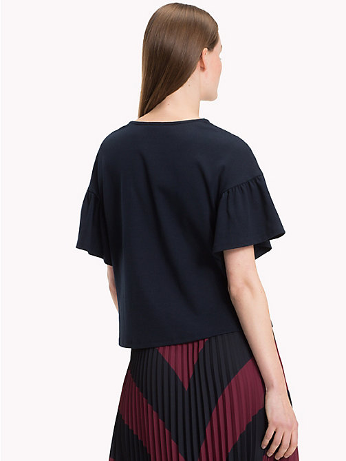 TOMMY HILFIGER Relaxed Fit Flared Sleeve T-Shirt - MIDNIGHT - TOMMY HILFIGER NEW IN - detail image 1