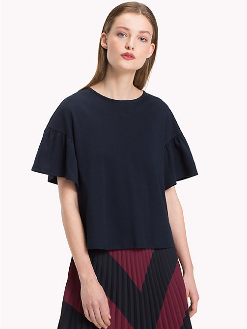 TOMMY HILFIGER Relaxed Fit Flared Sleeve T-Shirt - MIDNIGHT - TOMMY HILFIGER NEW IN - main image