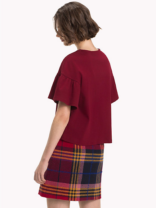 TOMMY HILFIGER Relaxed Fit Flared Sleeve T-Shirt - CABERNET - TOMMY HILFIGER NEW IN - detail image 1
