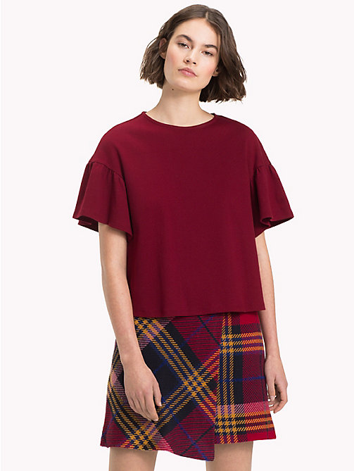 TOMMY HILFIGER Relaxed Fit Flared Sleeve T-Shirt - CABERNET - TOMMY HILFIGER NEW IN - main image