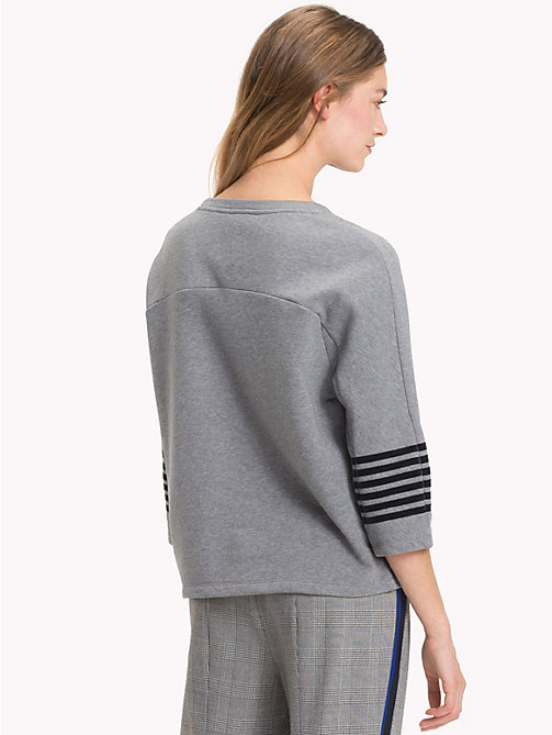 TOMMY HILFIGER Stripe Sleeve Relaxed Fit Sweatshirt - MEDIUM GREY HTR - TOMMY HILFIGER Clothing - detail image 1