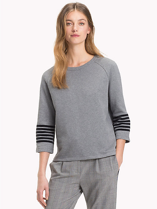 TOMMY HILFIGER Stripe Sleeve Relaxed Fit Sweatshirt - MEDIUM GREY HTR - TOMMY HILFIGER Clothing - main image
