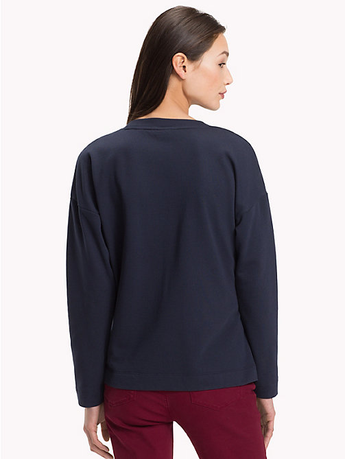 TOMMY HILFIGER Gathered Crew Neck Sweatshirt - MIDNIGHT - TOMMY HILFIGER NEW IN - detail image 1