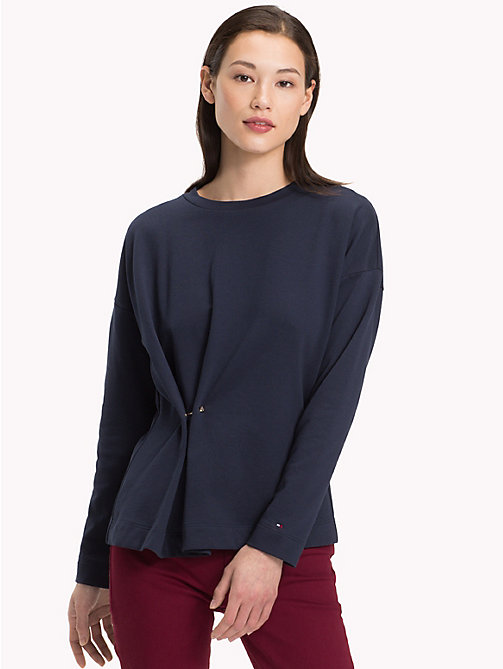 TOMMY HILFIGER Gathered Crew Neck Sweatshirt - MIDNIGHT - TOMMY HILFIGER NEW IN - main image