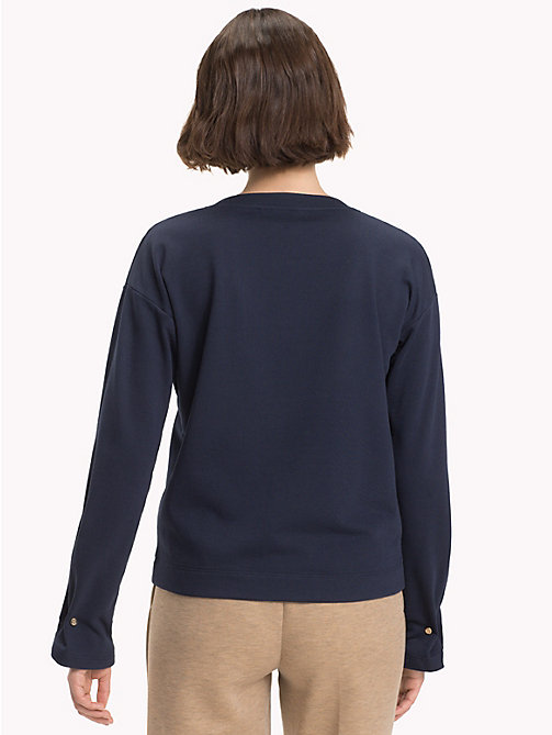 TOMMY HILFIGER Gathered Cuff Sweatshirt - MIDNIGHT - TOMMY HILFIGER Sweatshirts & Knitwear - detail image 1