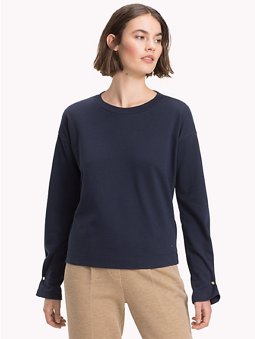 TOMMY HILFIGER Gathered Cuff Sweatshirt - MIDNIGHT - TOMMY HILFIGER Sweatshirts & Knitwear - main image