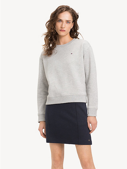 TOMMY HILFIGER Relaxed Fit Crew Neck Sweatshirt - LIGHT GREY HTR - TOMMY HILFIGER NEW IN - main image
