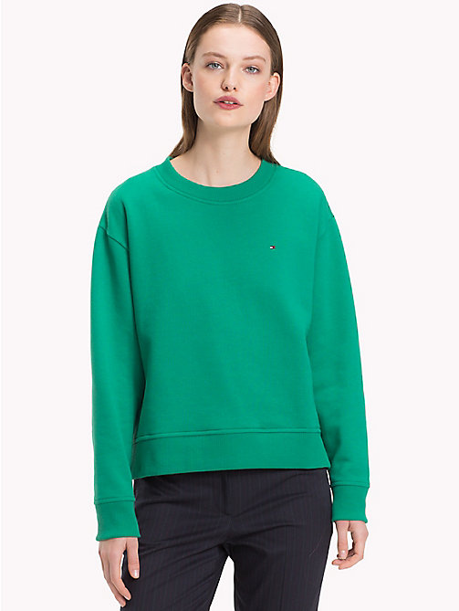 TOMMY HILFIGER Cotton Blend Fleece Relaxed Fit Sweatshirt - SHADY GLADE - TOMMY HILFIGER Sweatshirts - main image