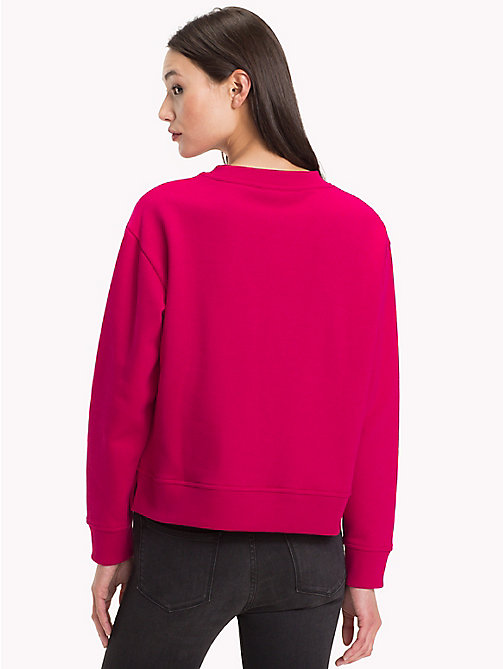 TOMMY HILFIGER Cotton Blend Fleece Relaxed Fit Sweatshirt - CERISE - TOMMY HILFIGER Sweatshirts - detail image 1