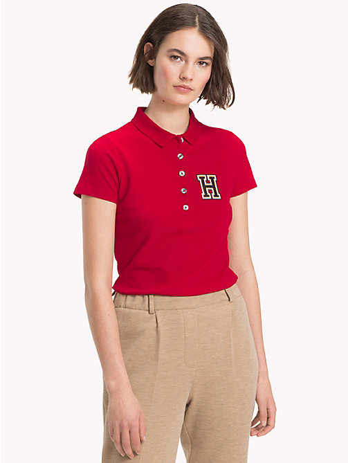 TOMMY HILFIGER Slim Fit Logo Polo Shirt - JESTER RED - TOMMY HILFIGER Black Friday Women - main image
