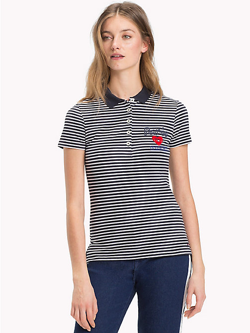 TOMMY HILFIGER Slim Fit Logo Polo Shirt - MIDNIGHT / CLASSIC WHITE STP - TOMMY HILFIGER Polo Shirts - main image