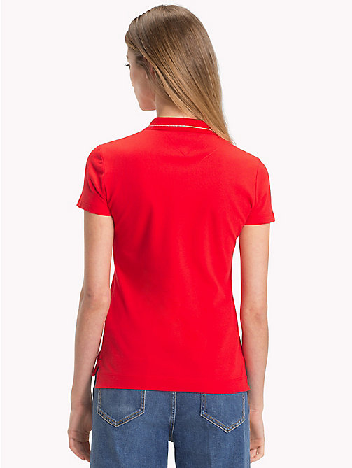 TOMMY HILFIGER Slim Fit Logo Polo Shirt - FLAME SCARLET / GOLD H - TOMMY HILFIGER Polo Shirts - detail image 1