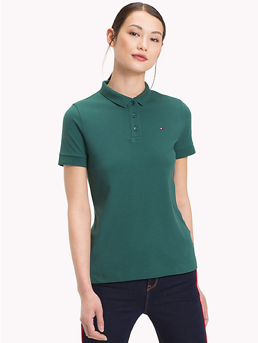 TOMMY HILFIGER Stretch Cotton Pique Polo - JUNE BUG -  Polo Shirts - main image