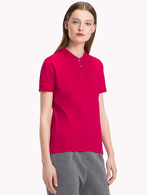 TOMMY HILFIGER Stretch Cotton Pique Polo - CERISE - TOMMY HILFIGER Polo Shirts - main image