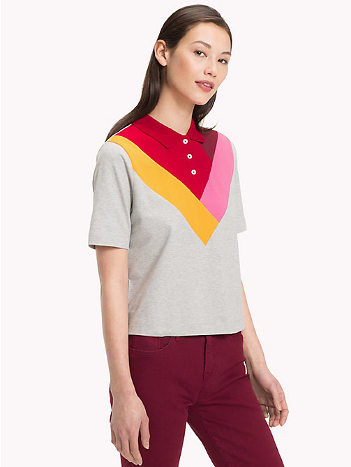 TOMMY HILFIGER Relaxed Fit Chevron Polo Shirt - LIGHT GREY HTR - TOMMY HILFIGER Black Friday Women - main image